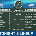 Here is tonight's #Cubs starting lineup. #EverybodyIn  Game preview: https://t.co/d0kFiPwb5P