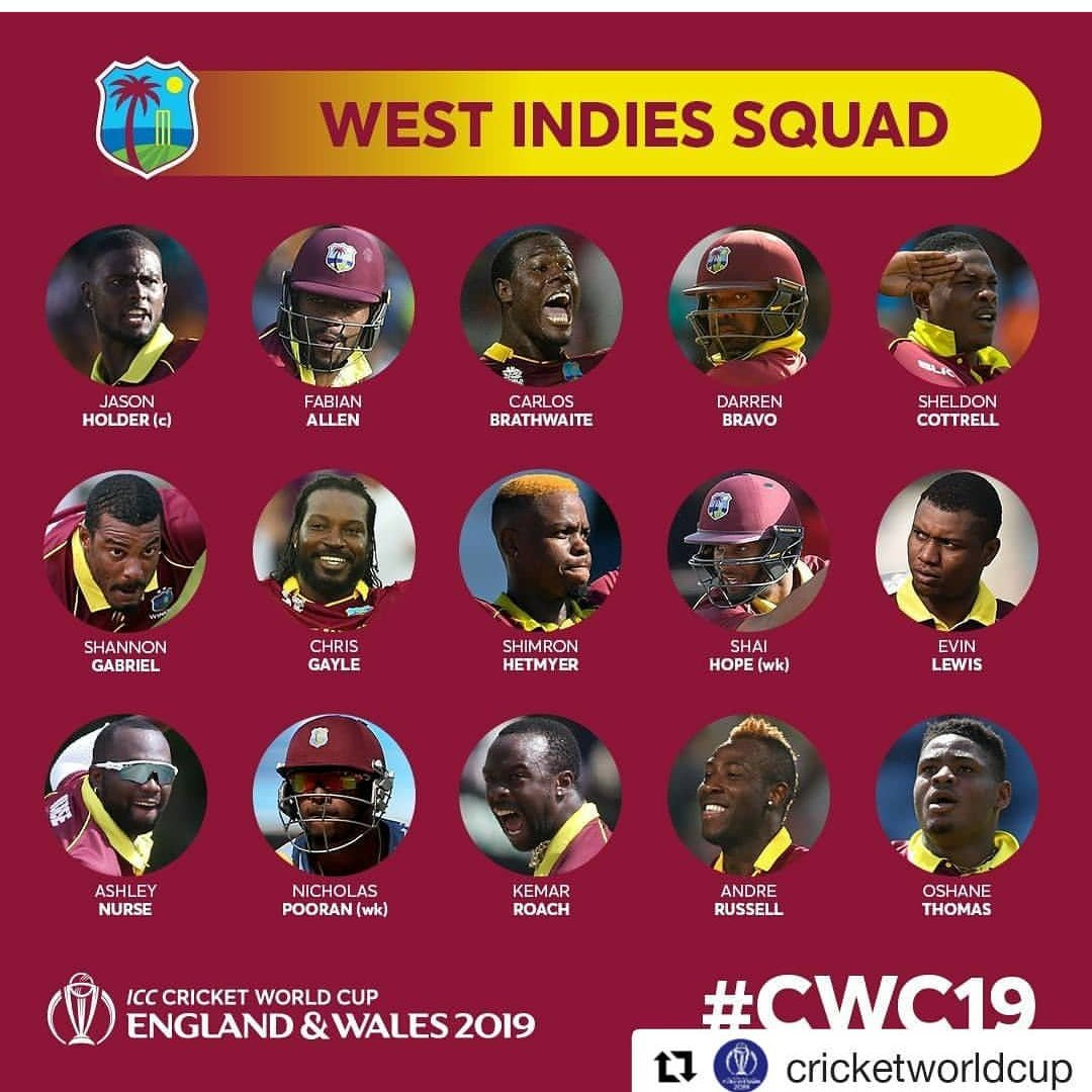 """The last and much awaited #Squad for #CWC19 """"West Indies"""" not """"Windies"""" looks strong but spinners are not that experienced  #Russell is back No #Samuels No#Narine  No #Pollard #worldcupsquad #WestIndies #ICCworldcup2019 #ICCWorldCup #ICC2019 #WorldCup #Caribbean"""