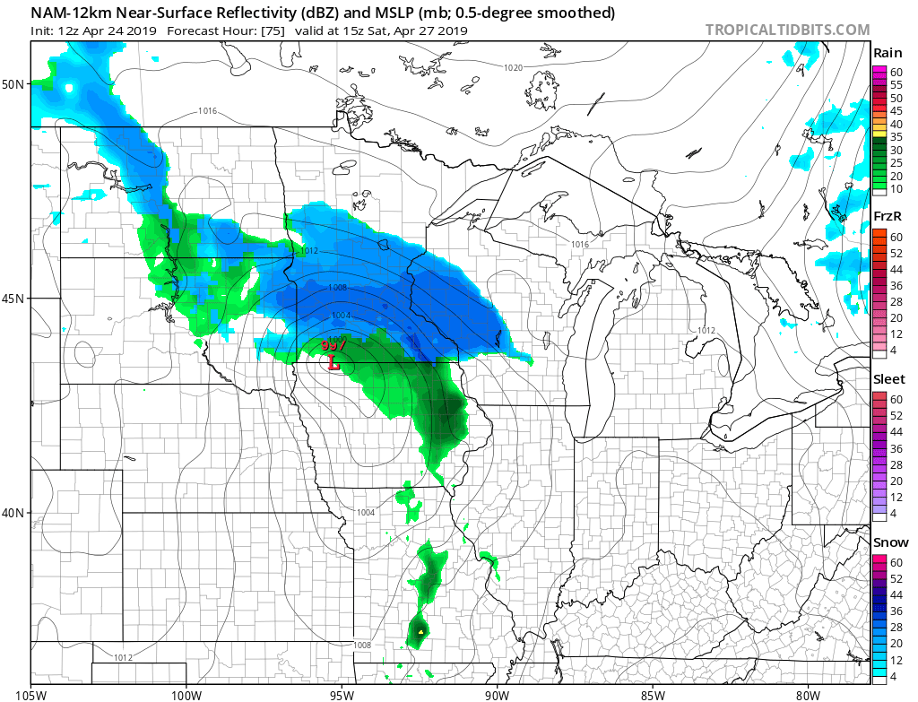 Afternoon NAM continues the trend set by global models - late season winter storm in parts of Minnesota and Wisconsin on Saturday, with a band of moderate to heavy snow near Minneapolis. Save this one under &quot;this is the worst&quot; in your weather file. #mnwx #wiwx<br>http://pic.twitter.com/7Am9LR8vP1