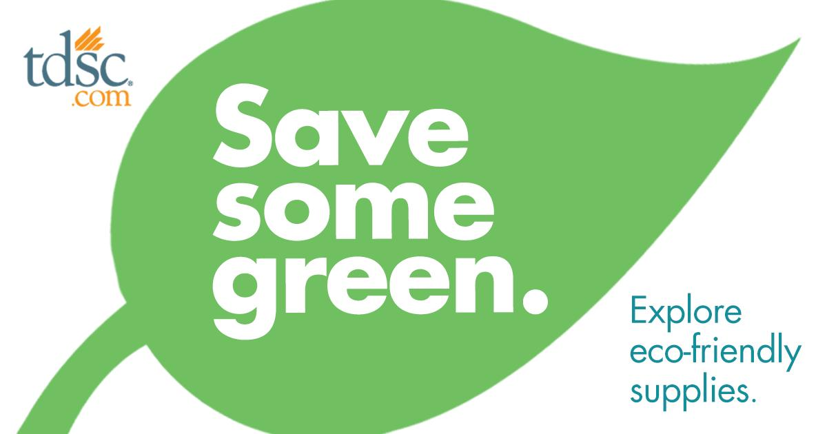 Enjoy savings on eco-friendly supplies at http://tdsc.com through the end of the month.  Shop dental supplies you can feel good about and save some green here:  http://tdsc.com/ecofriendly. #tdscsupplies #ecofriendly