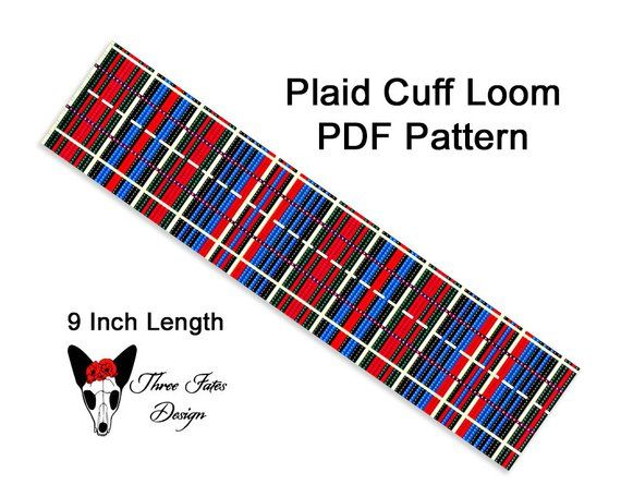 Seed Bead Bracelet Pattern, Plaid, Loom or Square Stitch Pattern, Instant Download PDF File https://buff.ly/2Zd9BHD   #onsale #etsysale #threefatesdesign #etsyshop #beaded #bracelet #pattern #beadwork #cuff #tutorial #loomstitch #plaid