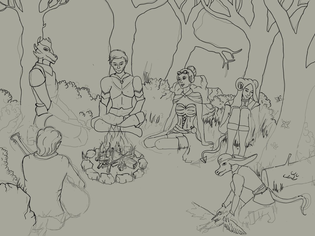 Little sneak peak of a piece I'm working on right now. The as yet nameless party of adventures take a night's rest on the road to Skyloft.  #DnD #hemlora