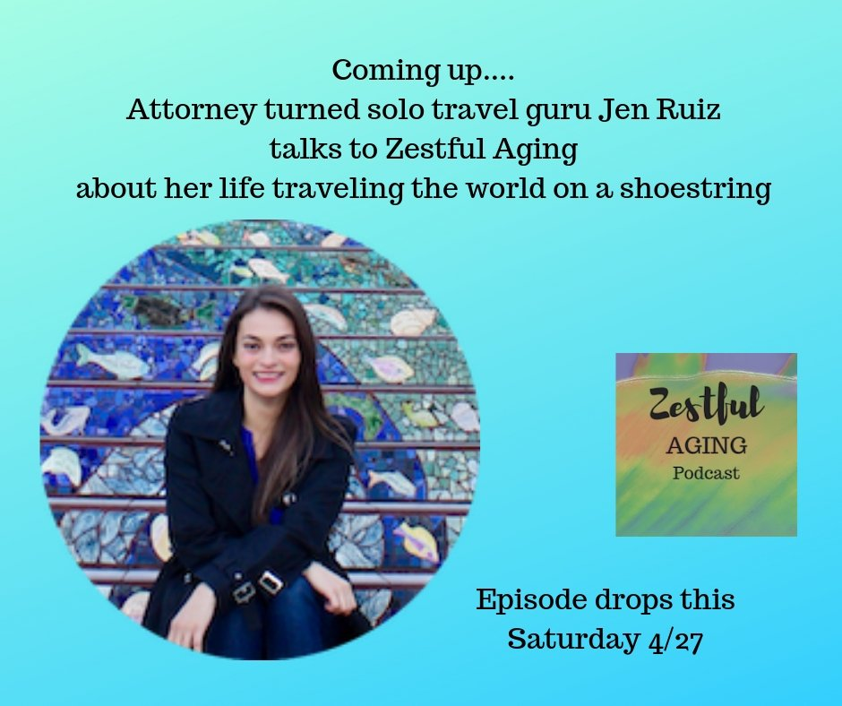 Dropping this Saturday: @zestfulaging interviews @jenonajetplane Jen Ruiz about her solo travel adventures all over the world. This is one courageous and intrepid woman! #solotravel #courage #bargainhunting #travelsecrets  https://podcasts.apple.com/us/podcast/zestful-aging/id1344320689 …
