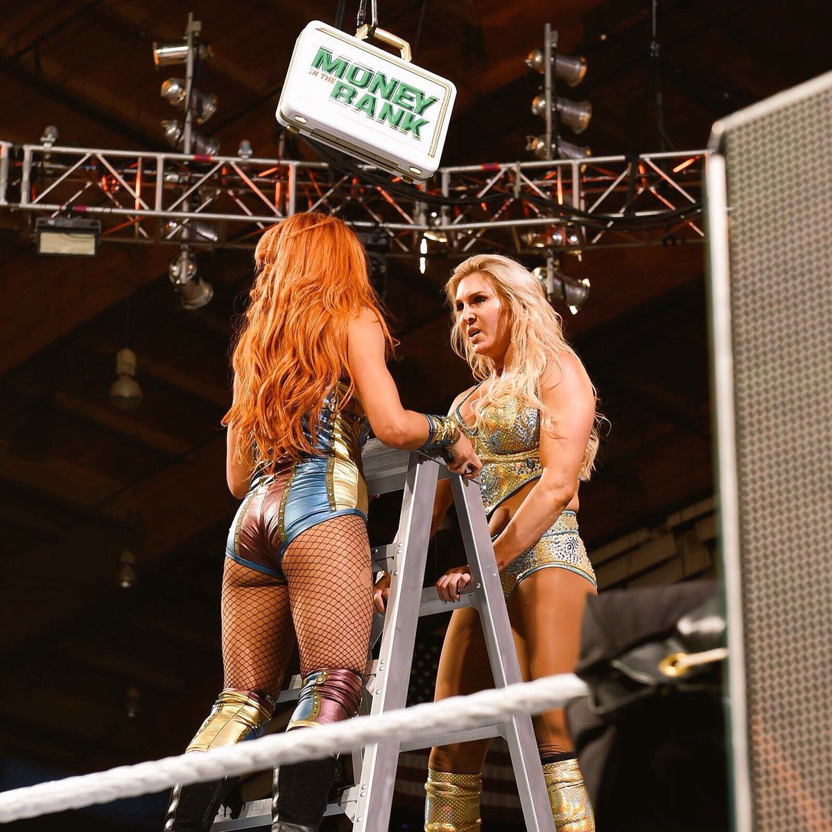 At MITB 2018, WWE teased their biggest future programme between two best friends atop a ladder.  One year later, Becky is walking in with two titles, and both have main evented Wrestlemania. They have been through so much in the past 12 months.  What a difference a year makes. <br>http://pic.twitter.com/Src0cBQ4ip