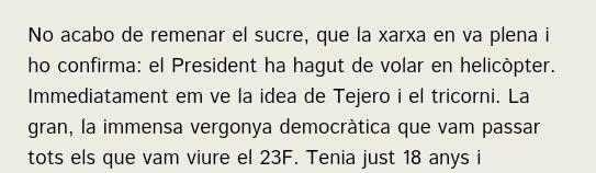 Cuando Quim Torra comparó una concentración del 15M con el golpe de estado de Tejero