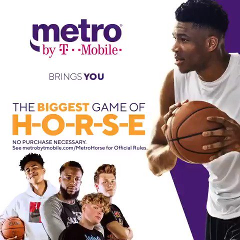Want to win a chance to meet @giannis_an34? We're putting on the Biggest Game of H-O-R-S-E! Head to IG to find out how you can enter for a chance to be in the tournament where you could win the chance to meet Giannis! NO PURCHASE NECESSARY. Official Rules: http://metrobytmobile.com/MetroHorse