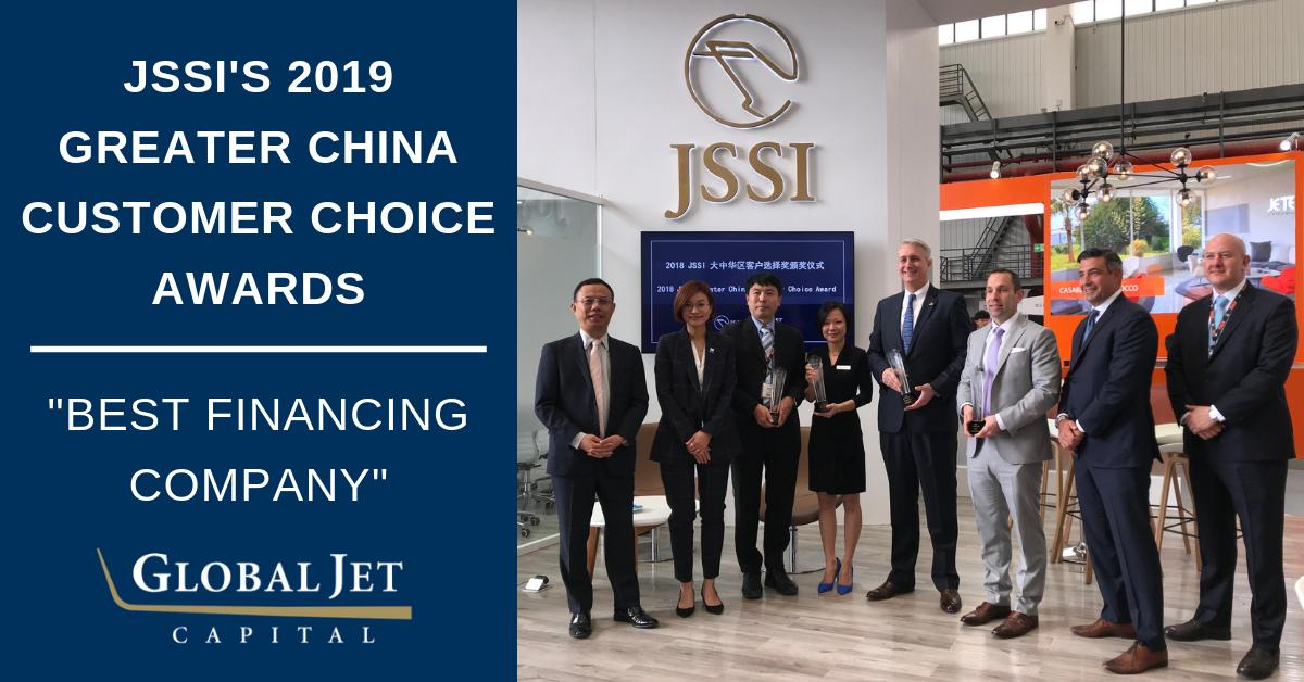Global Jet Capital was honored to receive the Best Financing Company award from @jssi last week at ABACE. Read more: bit.ly/2W3HDMl. #abace2019 #abace #bizav #aviation