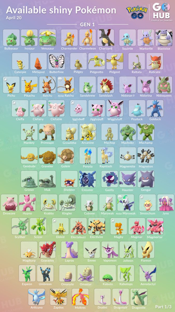 Hey guys, we finally managed to get a shiny list done for all currently available #ShinyPokemon  We will try our best to continuously update the list with every new shiny that's being released   Save yourself a copy, mark every shiny you have and to tag us   #PokemonGO <br>http://pic.twitter.com/apVEZ7KI94