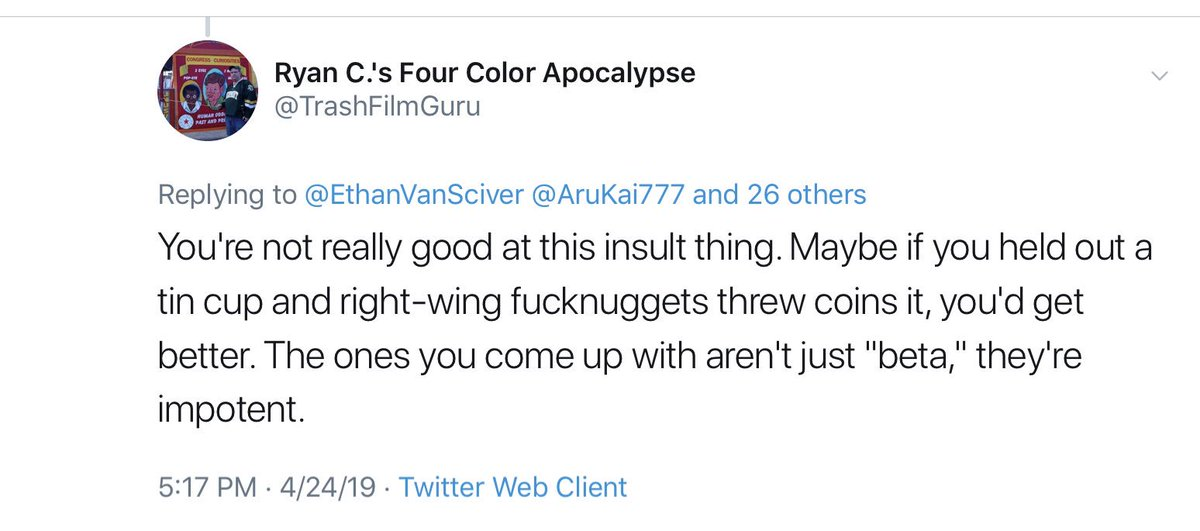 This piece of human garbage has been harassing me and my little brother for a year now, stalking my family, tormenting my indiegogo backers and calling me a beggar.  Lo and behold.  SJWs always project.   Ryan, go get a job and leave me alone.  🤷‍♂️🐸🌈