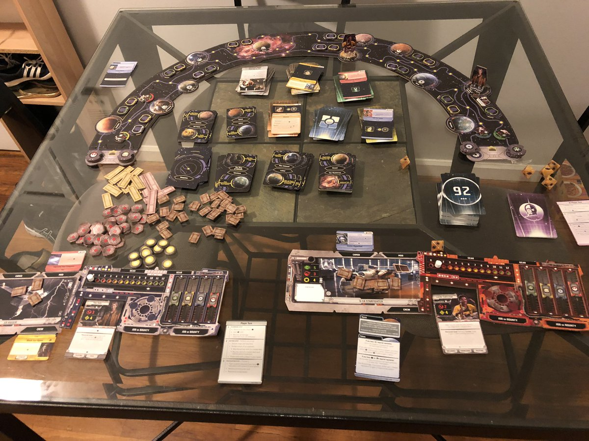 Spending the night playing a solo game of Outer Rim. Literally and figuratively. I'm playing as Han. @FFGames