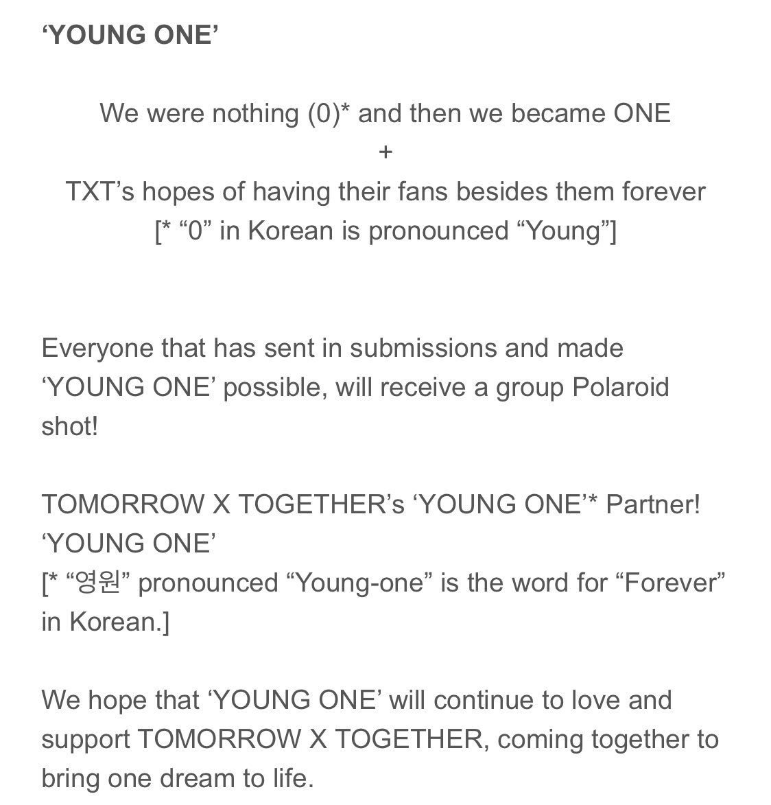 TXT'S FANDOM NAME IS YOUNG ONE SHUT UP THE MEANING IS SO CUTE  <br>http://pic.twitter.com/wyVINflJ5k
