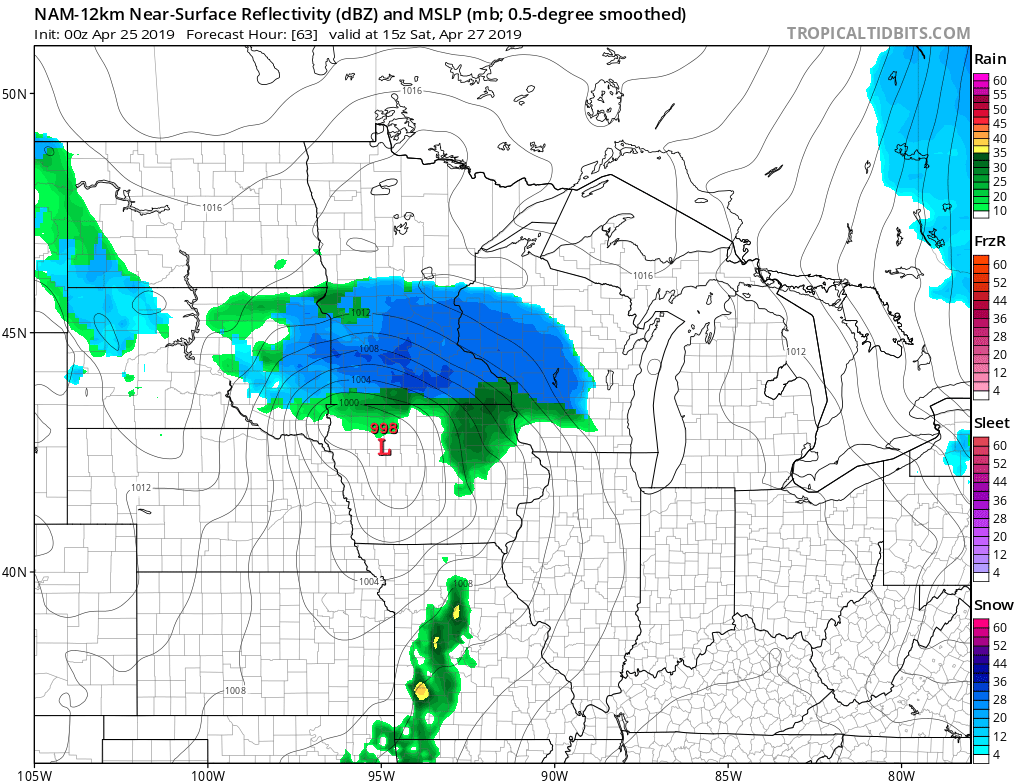 Evening NAM dials it up another notch with this weekends winter storm in MN/WI. This is really impressive stuff for late April. #mnwx #wiwx<br>http://pic.twitter.com/EIjBHjuO9j