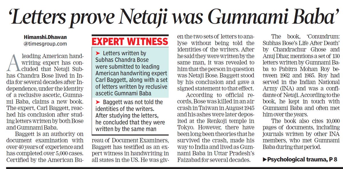 It is our mortification to give you the heartbreaking news about Netaji. Psychological trauma, possibly caused by torture in Russia, was key reason for non-reappearance. Top American expert has exposed sarkari forensic fraud.    https://www. amazon.in/Conundrum-Chan drachur-Ghose-Anuj-Dhar/dp/9386473577 &nbsp; …  #Conundrum #GumnamiBaba<br>http://pic.twitter.com/U8PPsmjUu8