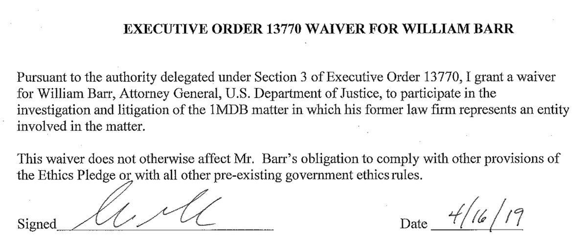 Barr former firm Kirkland &amp; Ellis represents Russia&#39;s Alfa Bank and Goldman Sachs in this 1MDB matter. Why need a waiver? <br>http://pic.twitter.com/bRCIAZfiQZ
