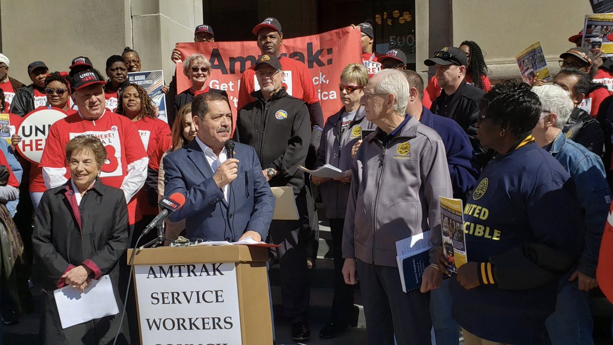 Today, I stood with colleagues, workers and activists who are making it clear to Amtrak that outsourcing of jobs will not be accepted. We need to invest in infrastructure right here at home. @AmtrakCouncil