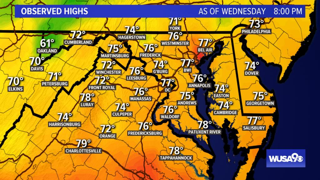 Hey DC! Here&#39;s a look at today&#39;s highs. Tune in to WUSA at 11 for the forecast or check at  http:// wusa9.com/weather  &nbsp;   #WUSA9Weather #WEATHER #DCWX #MDWX #VAWX<br>http://pic.twitter.com/QERbQCAjFY