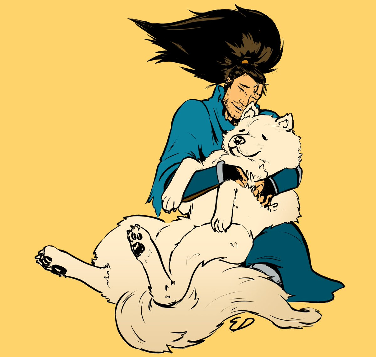 Back at it again drawing Yasuo with a Samoyed... this is my brand now (inspired by that one dog video going around) #ArtOfLegends #Yasuo<br>http://pic.twitter.com/GJcTlkDW1o
