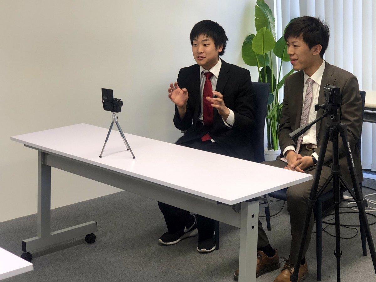 今日は朝からYouTubeの撮影!しゅん君(@otukaretyaaan )とスーツ君(@usiuna7991 )のコラボ動画に出させてもらいます?テーマは就職面接で、今回は旅音の社員として出演します!
