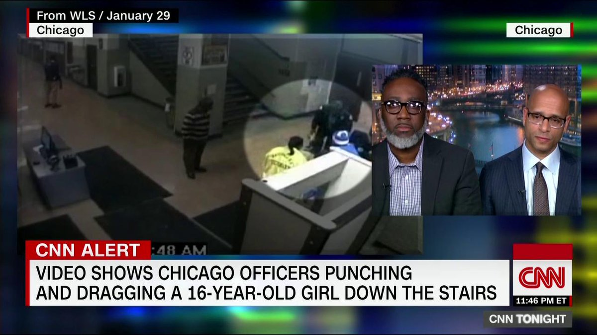 A father has filed a federal lawsuit after a newly-released surveillance video shows Chicago police officers dragging his daughter down the stairs and punching her multiple times at a city high school. He joins CNNs @DonLemon. cnn.it/2X5JJvt