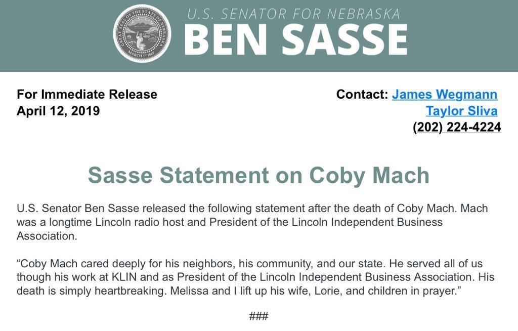 Statement from Senator Ben Sasse on the tragic death of Coby Mach.