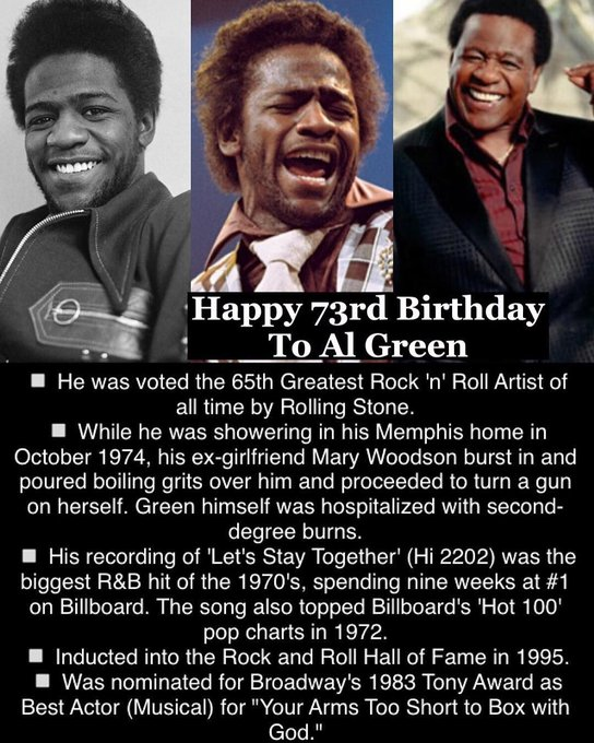April 13: Happy 73rd Birthday to Al Green