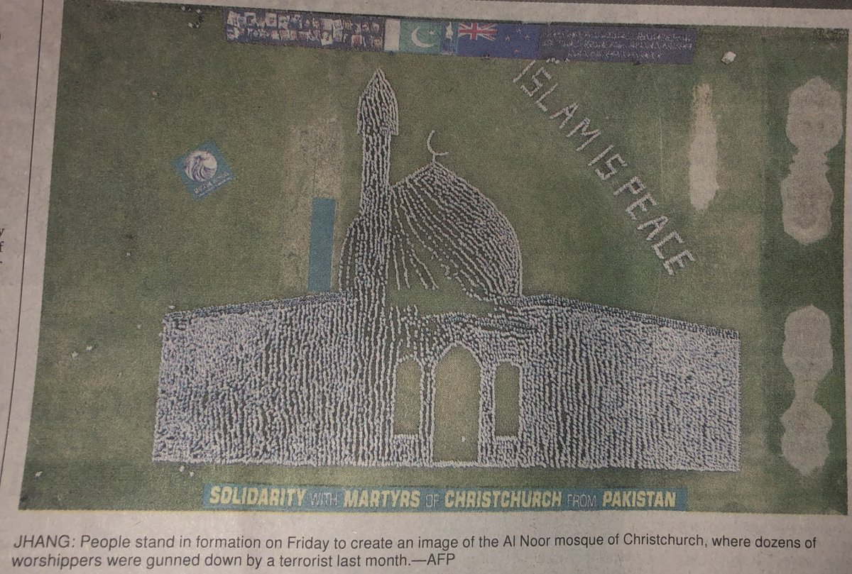 What a wonderful idea! To show solidarity with the martyrs of #ChristchurchAttack these people in Jhang stood in formation to create an image of Al Noor mosque of Christchurch. 🕌