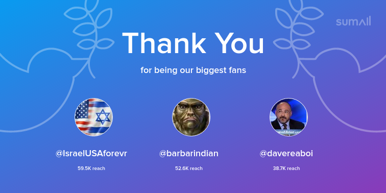 Our biggest fans this week: @IsraelUSAforevr, @barbarindian, @davereaboi. Thank you! via https://sumall.com/thankyou?utm_source=twitter&utm_medium=publishing&utm_campaign=thank_you_tweet&utm_content=text_and_media&utm_term=db003e21e82147ab60c7cf3e …