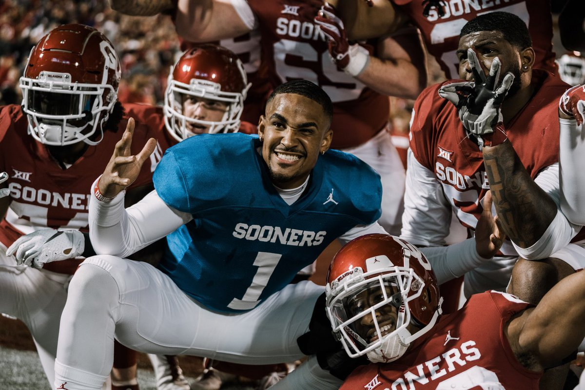 """#Sooners QB Jalen Hurts looked relaxed & had fun. Hurts said #OU is different: """"I ain't doing that over there at the other place, at #Alabama...It was a fun atmosphere. I figured why not? I know my old coach, Coach Saban, I probably would have got a chewing for that one."""""""