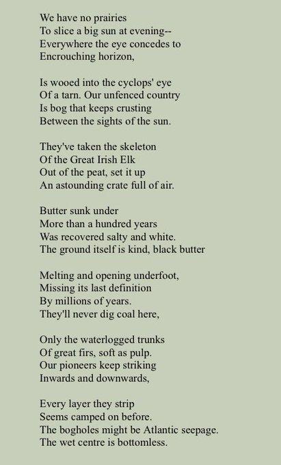 Happy Birthday Seamus Heaney  Bogland (1969)  Listen here
