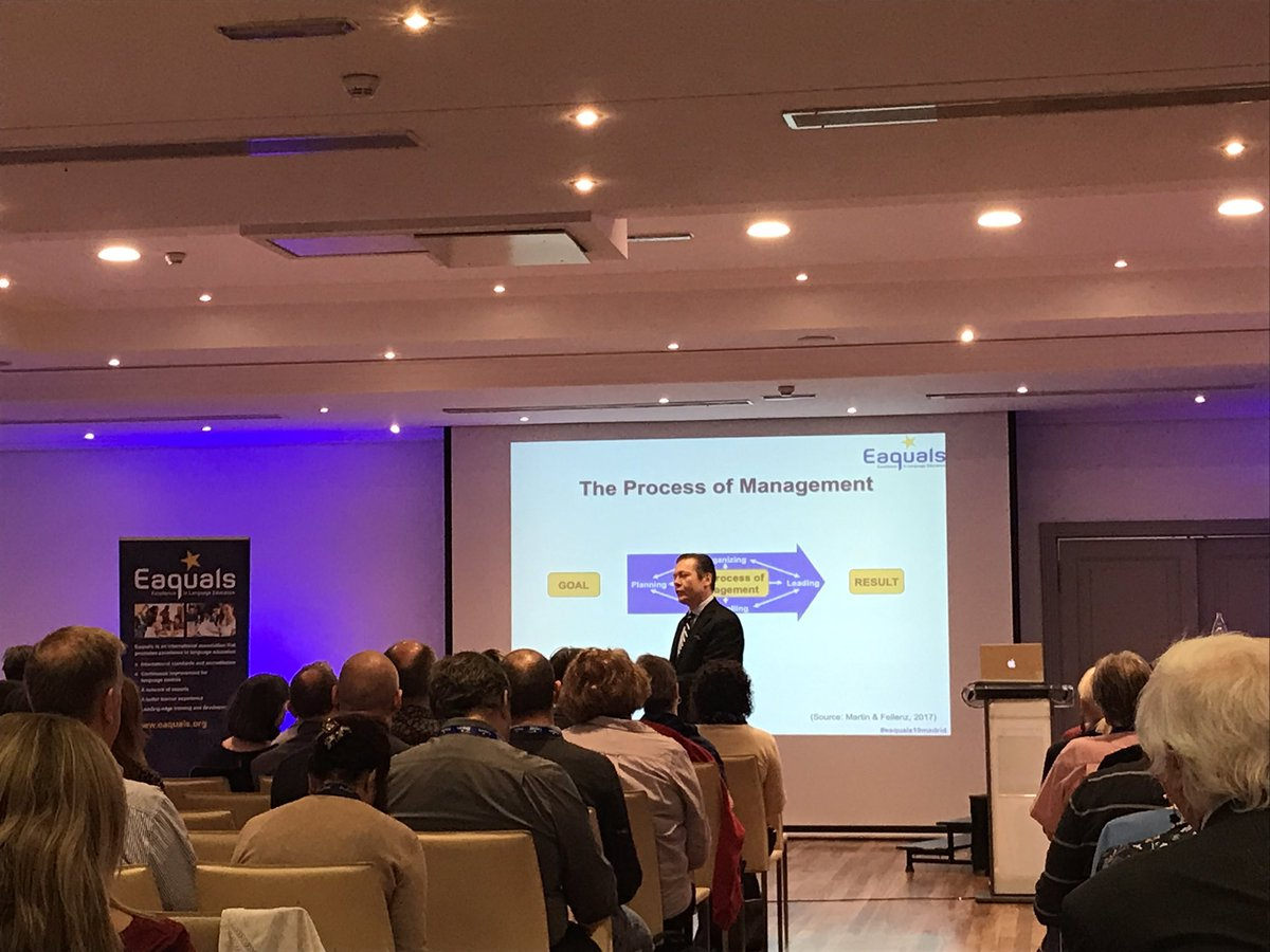 """Leadership is not a hierarchy or authority-based concept. Managers get people to do things. Leaders get people to want to do them."" The brilliant wisdom of Trinity College's Dr. Martin Fellenz. If only more leaders were given management positions! #eaquals19Madrid"