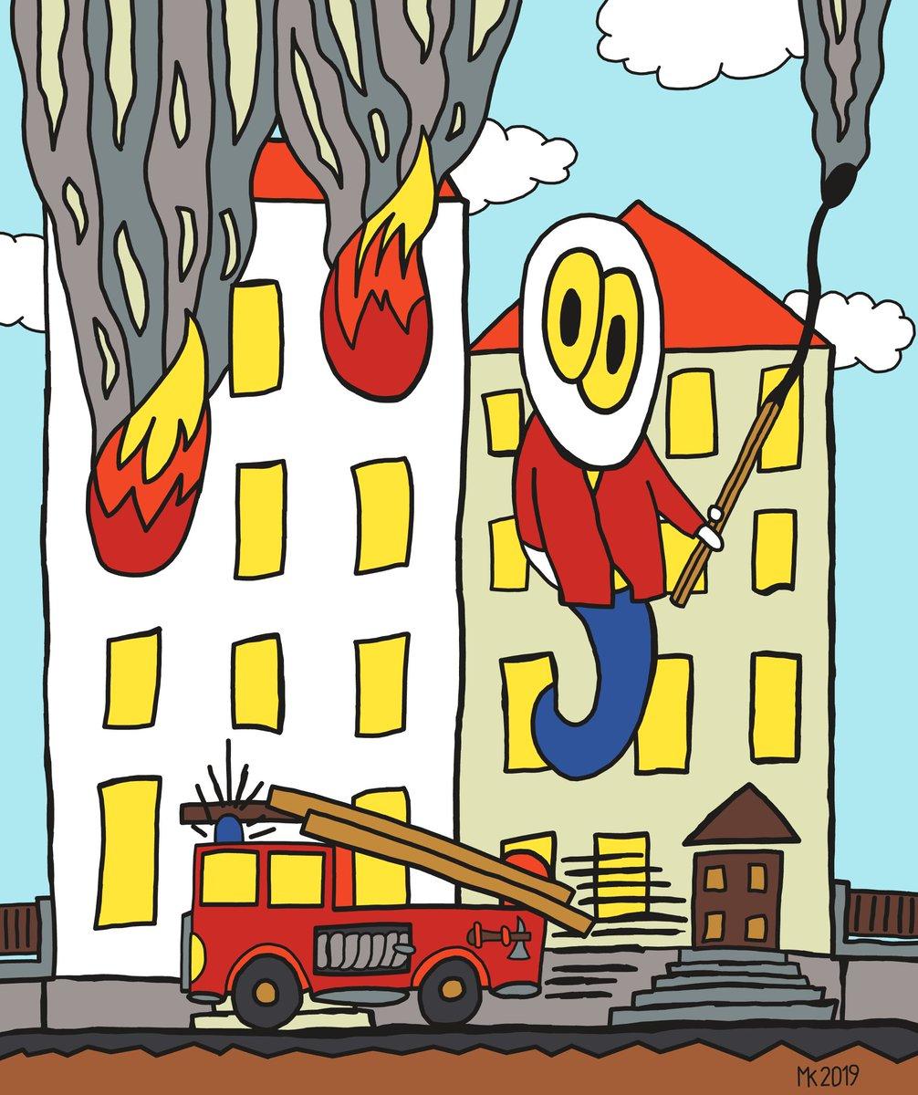 Oops! I set the #house on #fire. #ghost #digital #art #artwork #firemen #flames #smoke #burning #match #clouds #bluesky #nice #spooky
