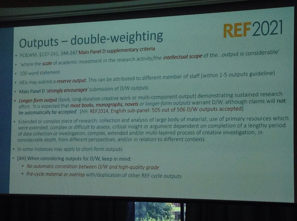 Last time in English UoA, 506 outputs submitted for double-weighting, 505 were accepted  #ueagm19