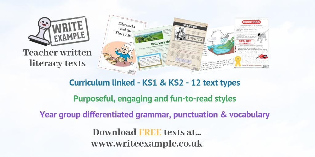 Using high-quality, example literacy texts is a tried and tested way to boost children's writing progress, confidence and enjoyment.   That's why we've created an ever-growing bank of precisely written example texts for KS1 & KS2.  FREE texts available at  http://www.writeexample.co.uk