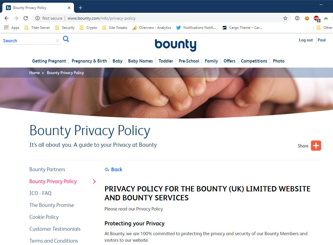 """""""We're committed to protecting your privacy & security...""""  """"Not secure""""  You really shouldn't need an independent data expert to tell you that really doesn't make sense @BountyUK"""