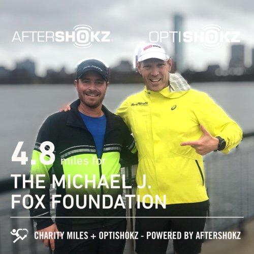 4.8 @CharityMiles w @drjordanmetzl for @MichaelJFoxOrg. Thx @AfterShokz & @OptiShokz. #ShokzMiles #Boston2019