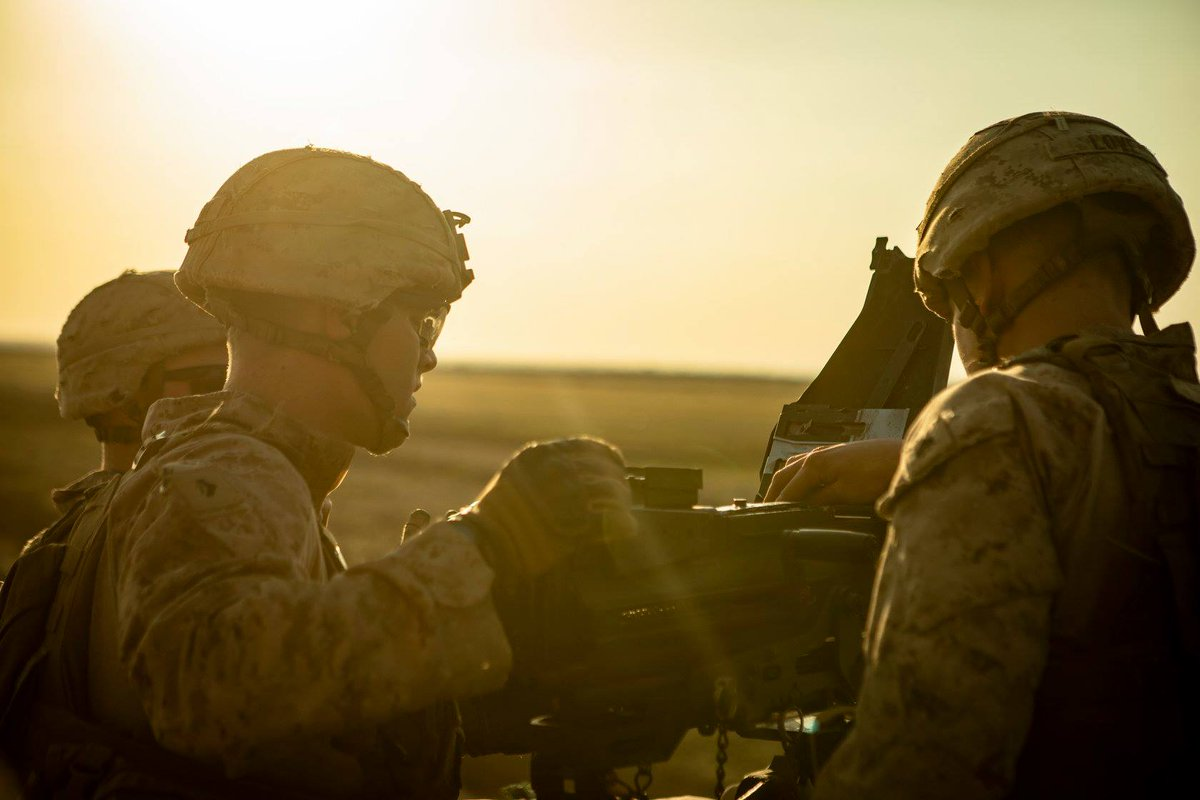 .@USMC Marines with Weapons Company, 3rd Battalion, 4th Marines, attached to #SPMAGTF, conduct live-fire with heavy machine guns on an unknown distance range. SPMAGTF is capable of deploying aviation, ground, and logistics forces forward at a moment's notice. #DefeatDaesh