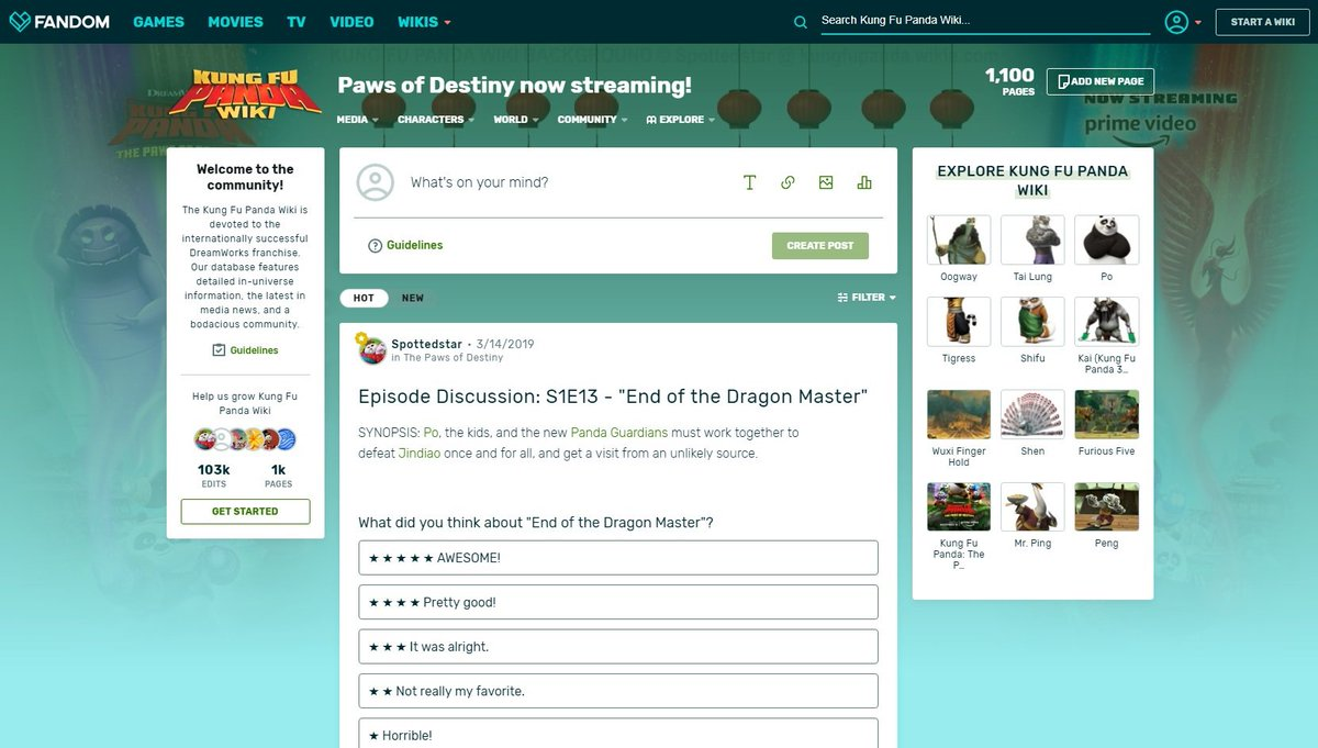 Our forums have a new look! With an all-new theme and additional posting and navigational features, the forums are now more engaging and easy to use! Come check it out and join in the discussions: https://kungfupanda.fandom.com/f @getFANDOM #kungfupanda