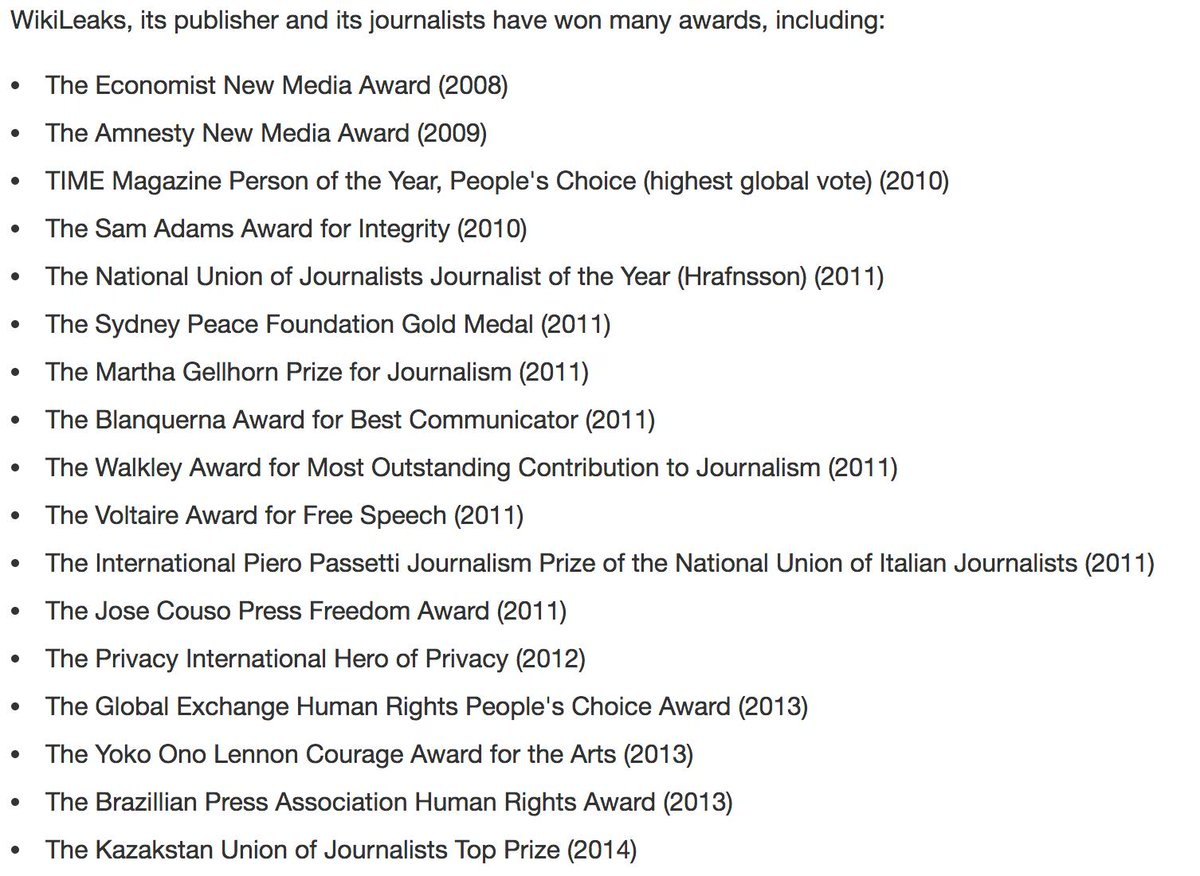 Is Julian Assange not a journalist? Is WikiLeaks not a media organization? If so it is amazing how many journalism awards have been given to a non-journalist and a non-media organisation.   Please donate: https://shop.wikileaks.org/donate