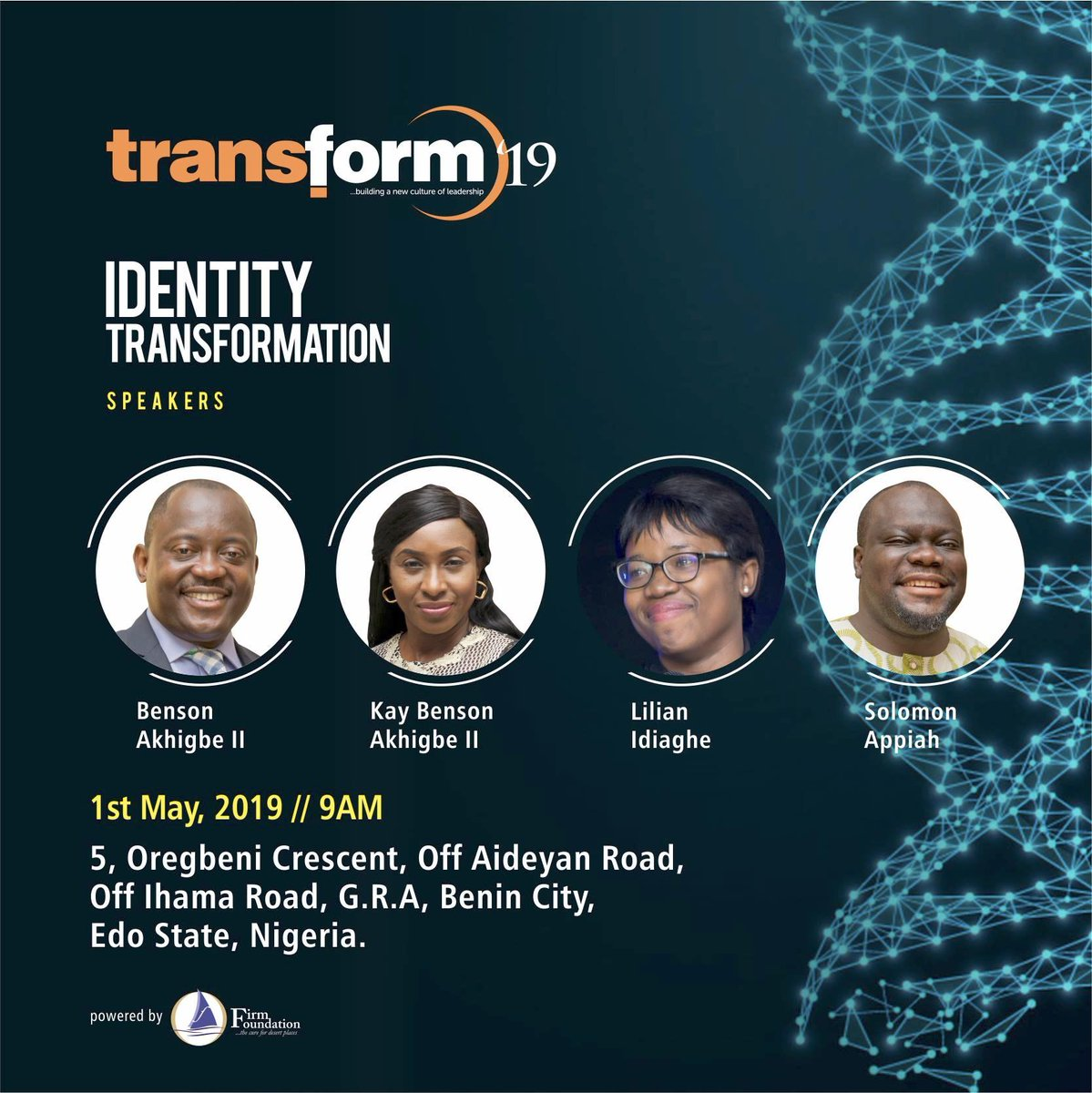 Will be teaching at @Transform_2019 hosted by the amazing @bensonakhigbe & @kay_akhigbe   @_firmfoundation is a cutting edge ministry relevant to their state ... positive transformation agents! Great place to be w/ a culture of honour & excellence. See you there!