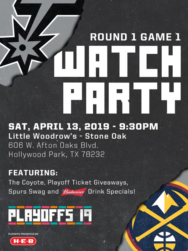 🚨 Game 1 Watch Party 🚨  Join @SpursCoyote and the Spurs Hype Squad tonight at Little Woodrow's - Stone Oak to help cheer us on!