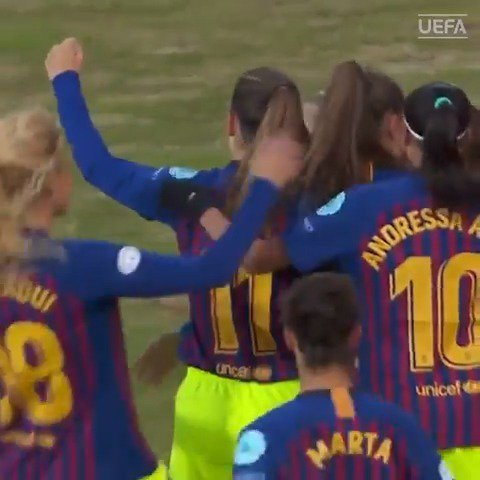 Either @FCBfrauen or @FCBfemeni are heading for their first #UWCL final🏆 Their sold-out first leg is at 18CET on Sunday🤩 http://bit.ly/2vcbma7