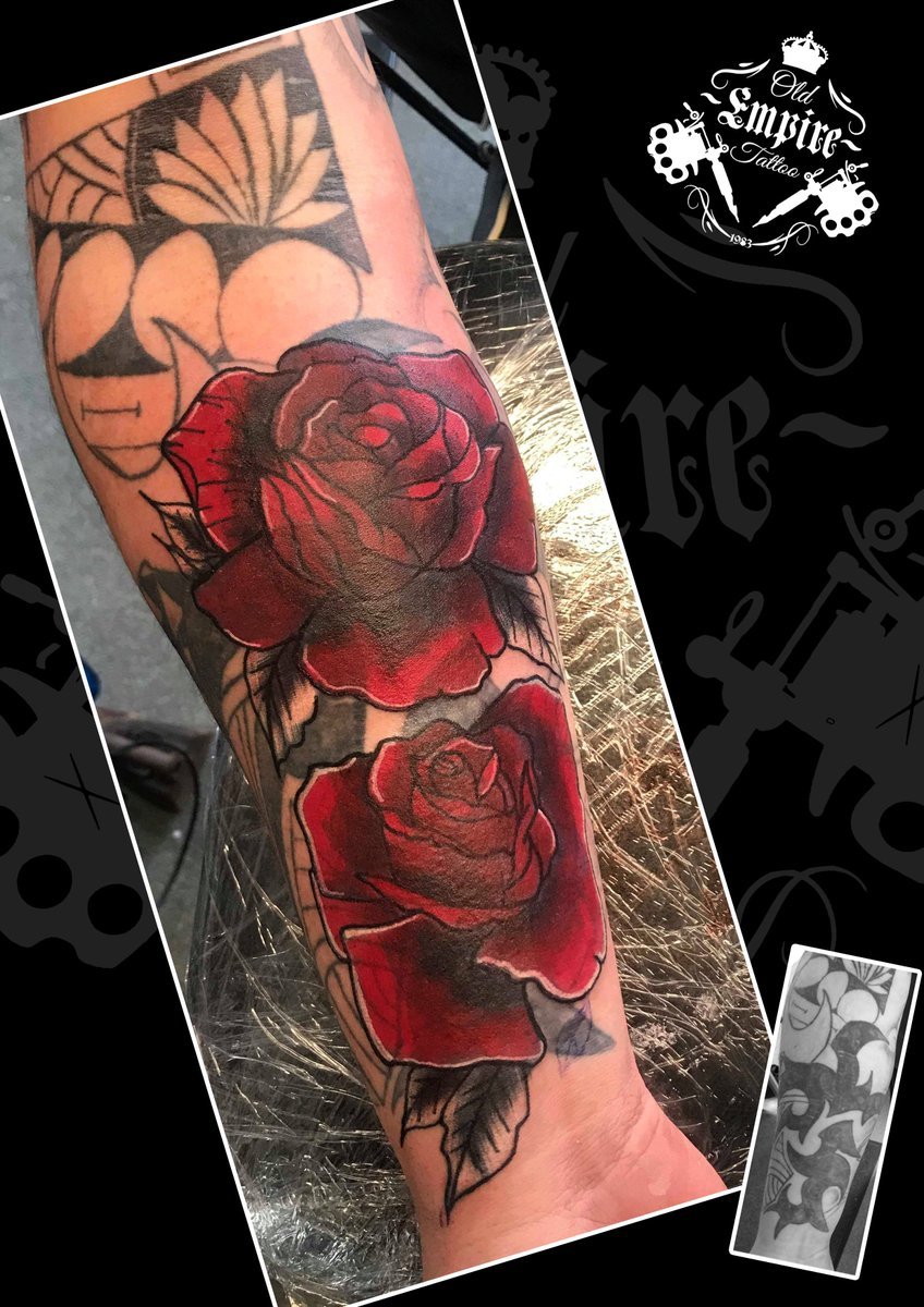 59bd2a0e31 meet great look tribal and red rose elbow tattoo ...