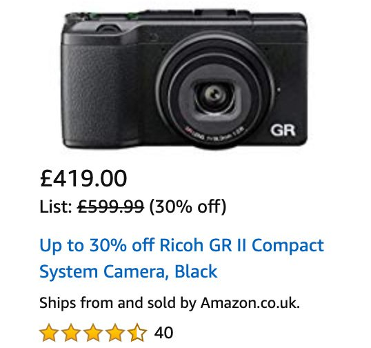 For a limited time: Ricoh GR II camera now £419 in the UK: https