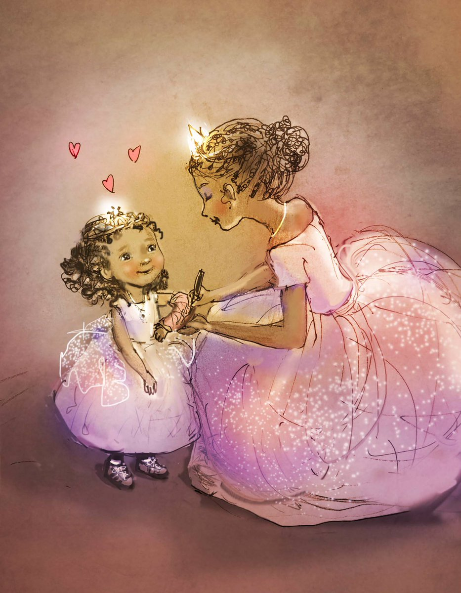 Pretty sure her arm isn't bothering her right at this moment. I am a day late for #colour_collective #pink. Hope your weekend is off to a good start! #princess #love #kidlitart #illustration #childrensbooks<br>http://pic.twitter.com/xRSoRgTva9