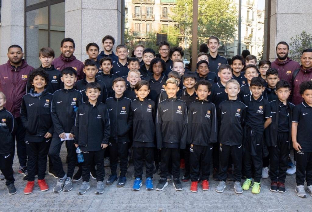 The @BarcaAcademyATX group of players and coaches in Barcelona for the @BarcaAcademy World Cup. Tomorrow, they all play a friendly at Blaines, a beautiful town about 1 hour outside the city by car. Then we drive to Girona to see the Girona vs Villarreal match tomorrow evening. https://t.co/a9aT8UOSrm
