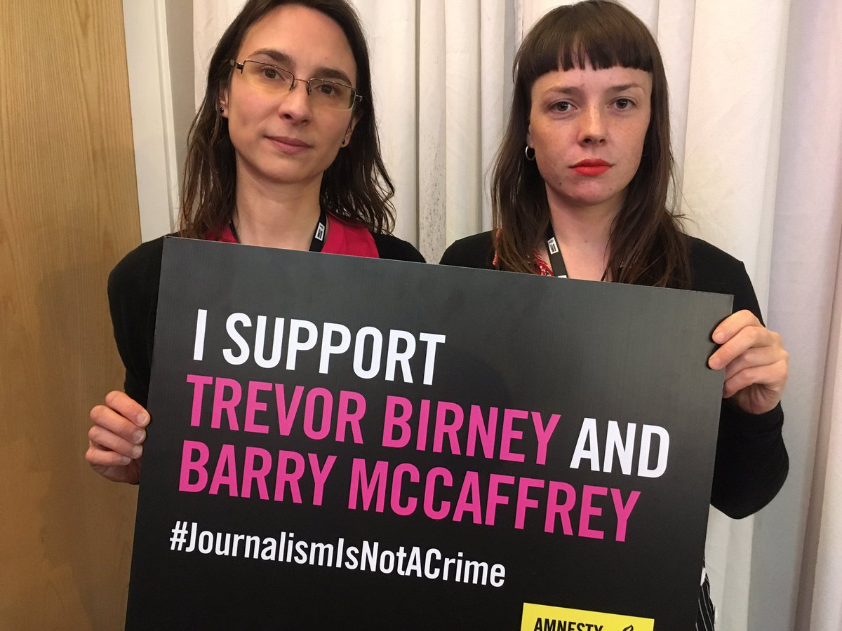 As members of the #Stansted15, Lyndsay Burtonshaw and Mel Strickland, faced the prospect of prison. Now they're standing with Belfast journalists @trevorbirney & @Barry_TheDetail now also facing the threat of jail. #JournalismIsNotACrime #AmnestyAGM