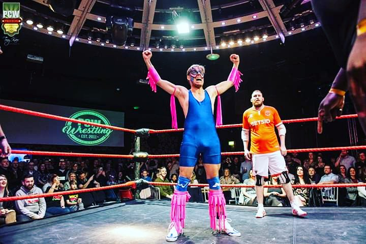 Last week I was a #whitecollar wrestler.  I think I was possessed by the spirit of the @UltimateWarrior and I became the #WrestleManiac all to raise money for a special litle boy
