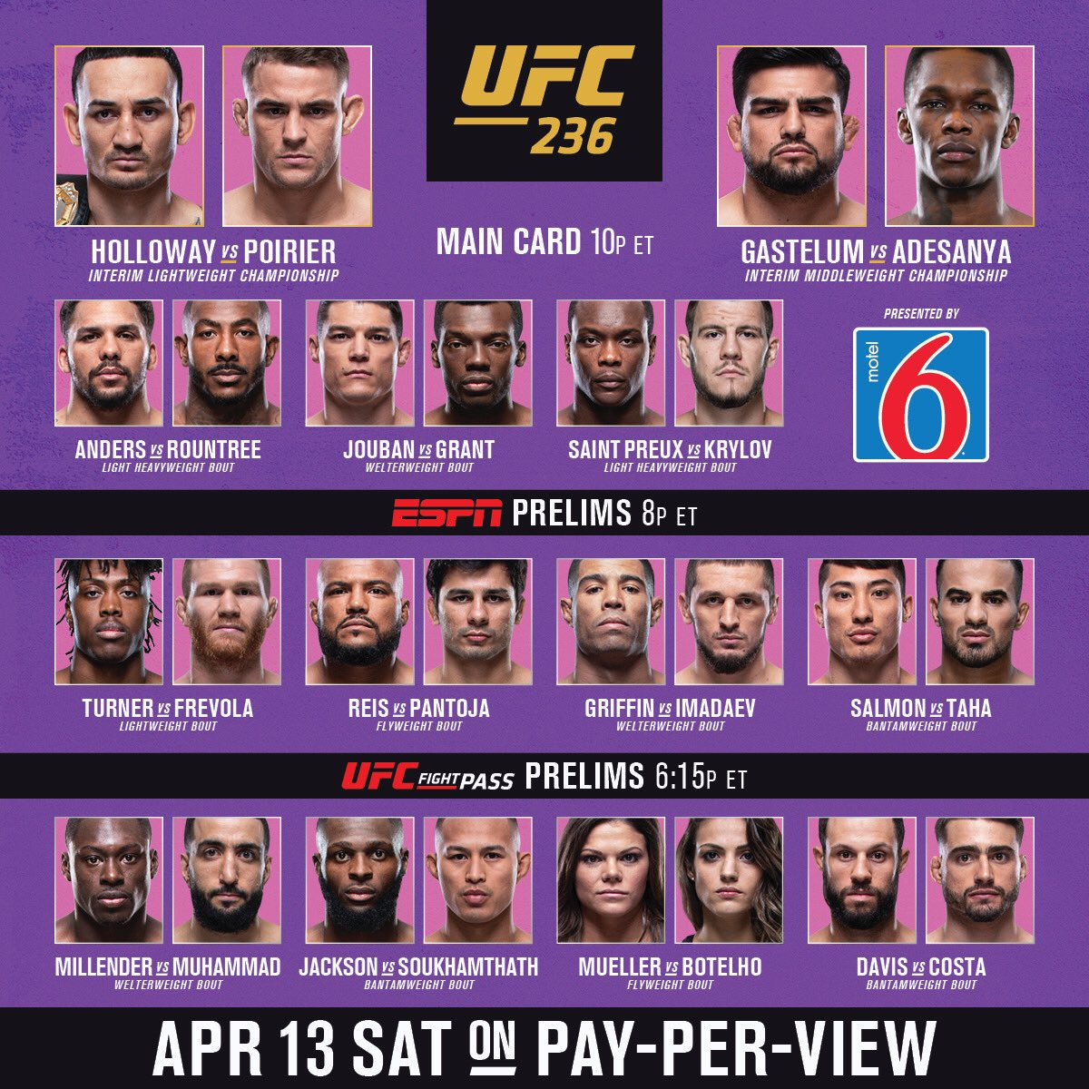 #UFC236 Fight Pass prelims start NOW on http://UFC.tv !!!