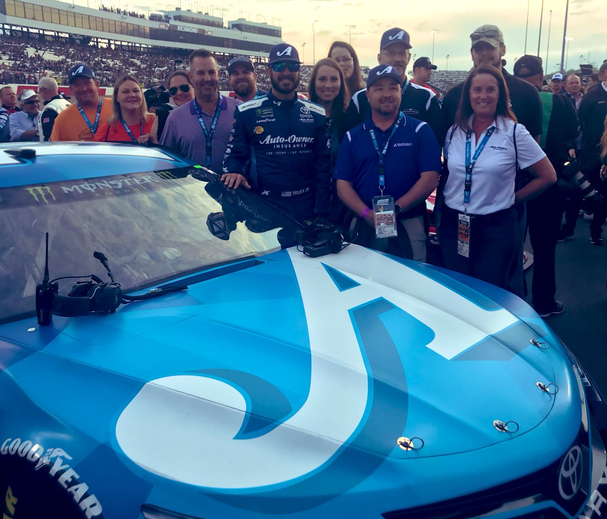 #MoodyBlue getting ready to #OwnTheTrack at the #ToyotaOwners @RichmondRaceway with @MartinTruex_Jr and smiling A-O associates.