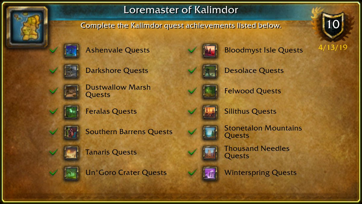 I just earned the [Loremaster of Kalimdor] Achievement! #Warcraft